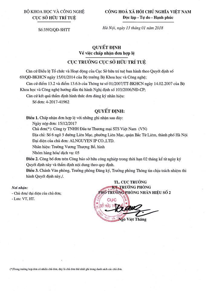 chứng nhận nhãn hàng TVTB độc quyền của cty STS VN